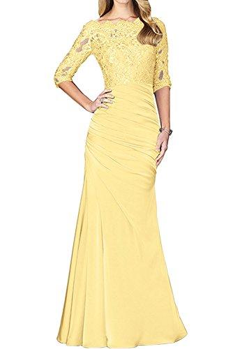La_mia Braut Damen Spitze Langarm Etuikleider Abendkleider Brautmutterkleider Abschlussballkleider Lang Gelb
