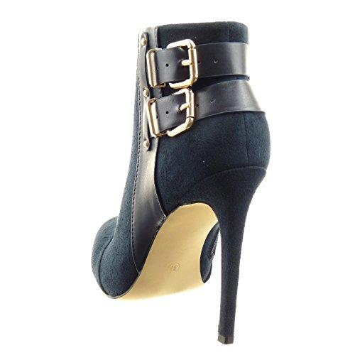 Sopily - Scarpe da Moda Stivaletti - Scarponcini stiletto low boots alla caviglia donna borchiati tanga fibbia Tacco Stiletto tacco alto 11 CM - Blu