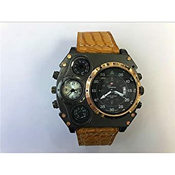 8af279fae0d ... 2タイムゾーン レザー バンド クール ブラック カーキ ホワイト ブラック ダークブルー レッド ホワイト/ベージュ (Color :  White)   国内メーカー   腕時計 通販