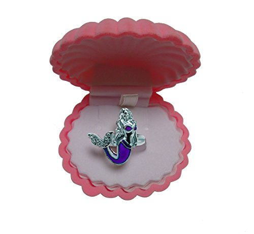 Mermaid Mood Ring with Velvet Shell Ring Box (Pink Box) (Ring Pink Shell)
