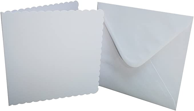 "/& ENVELOPES Craft UK  8/""X8/"" WHITE STRAIGHT CARDS 300GSM -25 PK-SCORED 100GSM"