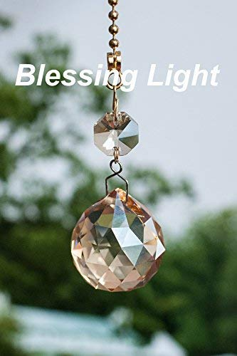 Beautiful Lead Crystal - 2 of Champagne Dazzling 26% Lead Crystal Ceiling FAN Pull Chains 30mm
