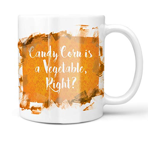 Neonblond 11oz Coffee Mug Candy Corn is a Vegetable, Right? Halloween Orange Wallpaper with your Custom Name]()