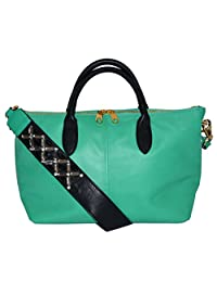 Cynthia Rowley Leather Jasmine Tote Crossbody Bag Handbag Green