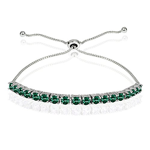 - Sterling Silver 3mm Green Round-cut Bolo Adjustable Bracelet made with Swarovski Crystals