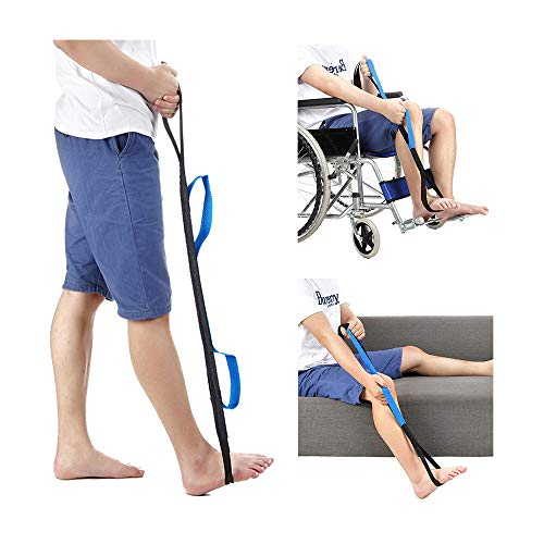 Knee Lifter - Leg Lifter Loop for Elderly, After Knee Hip Surgery Recovery - 37'' Leg Lifter Strap Rigid Foot Lifter & Hand Grip Therapy Bands Handicap Disability Aids for Car, Bed Wheelchair & Couch