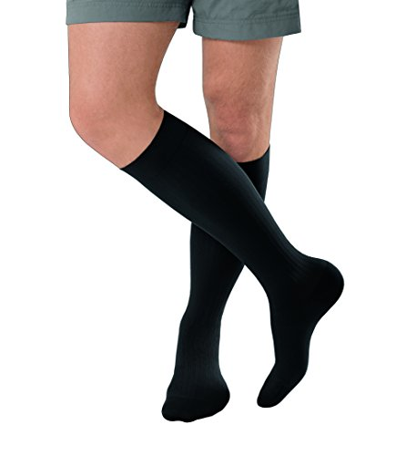 JOBST forMen Ambition Knee High with SoftFit Technology Band, 20-30 mmHg Ribbed Dress Compression Socks, Closed Toe, 4 Regular, Black ()
