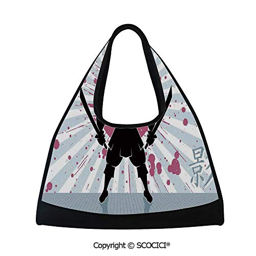 Short distance travel bag,Cartoon Dark Samurai in Body Armour with Helmet on Sunburst Vintage Illustration,Sports and Fitness Essentials(18.5x6.7x20 in) Pink Black ()