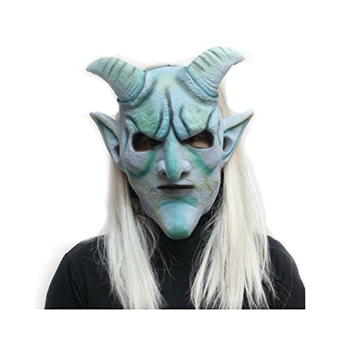(Mardi Gras Party Masquerade Mask,Halloween Whole Person Prop Makeup Dance mask Horror White Hair Witch mask Croissant White Hair Prom)