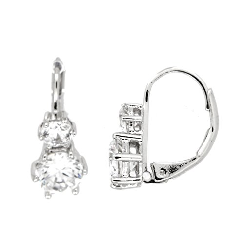 (Sterling Silver Rhodium Plated Double Stacked Round Cut Cubic Zirconia Earrings)