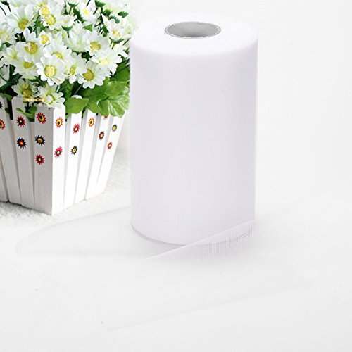 Haperlare 6 Inch x 200 Yards (600FT) White Tulle Rolls Tulle Spool White Tulle Fabric Rolls Wedding Tulle for Gift Bow Craft Tutu Skirt Wedding Party Decorations