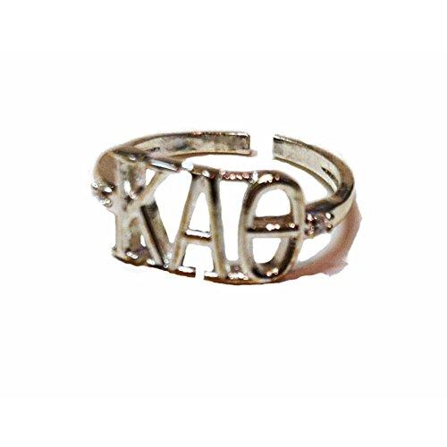 (Kappa Alpha Theta Sorority Silver Adjustable Ring)