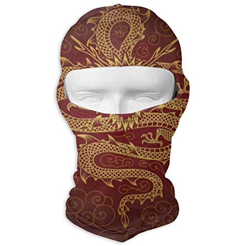Vintage Chinese Dragon Fire Outdoor Balaclava Face Mask Sun Protection Full Face Mask Hood - Hunting Hiking Training Masks Motorcycle Helmet Anti-Scratch Inner Lining White (Vintage Full Face Motorcycle Helmets For Sale)
