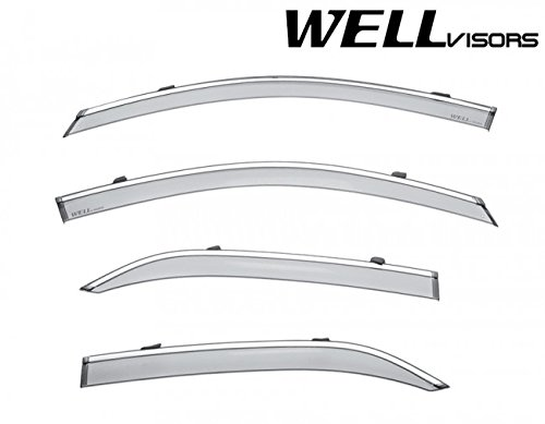 WellVisors Extreme Online Store Replacement for 2015-Present Chevrolet Tahoe | GMC Yukon | Cadillac Escalade Side Rain Guard Window Visors Deflectors with Chrome Trim ()
