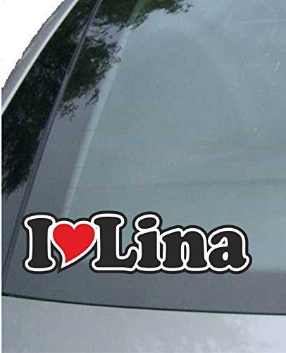 INDIGOS UG - Car Sticker/Decal / JDM/Die Cut I Love Heart 15 cm - I Love Lina - Car Truck Truck - Sticker Name Man Woman Child from INDIGOS UG