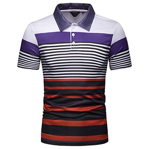 b9e08091268 STORTO Mens Colorful Stripe Pique Polo Shirts Short Sleeve T-Shirts Casual  Fashion Fit Tops
