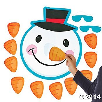 Pin The Nose on The Snowman Christmas Holiday Party Game with Blindfold & -