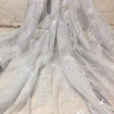 Laliva 1 Yard African Tulle Feather Embroidered Lace Fabric Summer French Lace Fabric for Bridal Women's Dress Sewing Net French Lace - (Color: Grey)