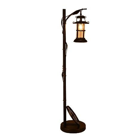FGLDD Lámpara de pie de Hierro Forjado Retro Americana Loft ...