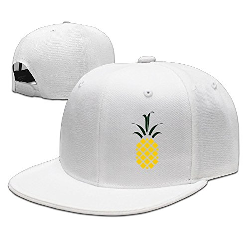 ssee-unisex-adult-pineapple-flat-billed-hip-hop-caps-white