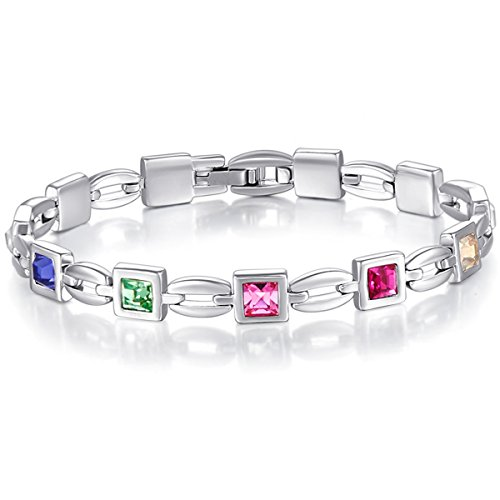 Valentines-Day-Gift-Mondaynoon-Womens-SWAROVSKI-ELEMENT-Crystal-Look-of-Love-Charm-Tennis-Bracelet-767