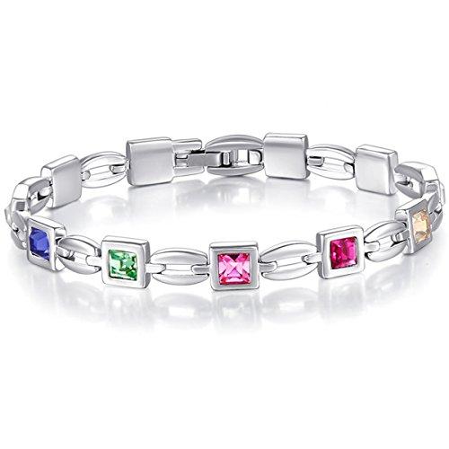 Valentines-Day-Gift-Mondaynoon-Womens-SWAROVSKI-ELEMENT-Crystal-Look-of-Love-Charm-Tennis-Bracelet-767