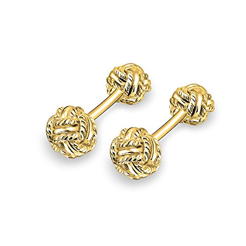 Faced Cuff (Bling Jewelry Classic Gold Plated 925 Silver Double Woven Love Knot Double Faced Cufflinks)