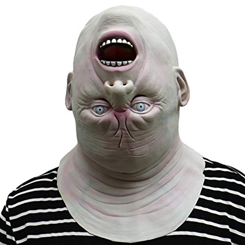 Halloween Scary Mask, Horror Shaped Inverted Head Funny Cute Alien Old Man Head Set Room Haunted House Zombie Row Zombie Role Playing Makeup Stage Toy Mask]()