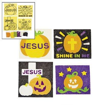 Christian Pumpkin Sand Art Craft Kit - Vacation Bible School & Craft Supplies (Christian Halloween Sunday School Crafts)