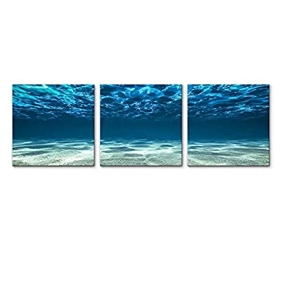 That You Will Love, Magnificent Work of Art, for Living Room Bedroom Home Artwork Blue Ocean Paintings x3 Panels
