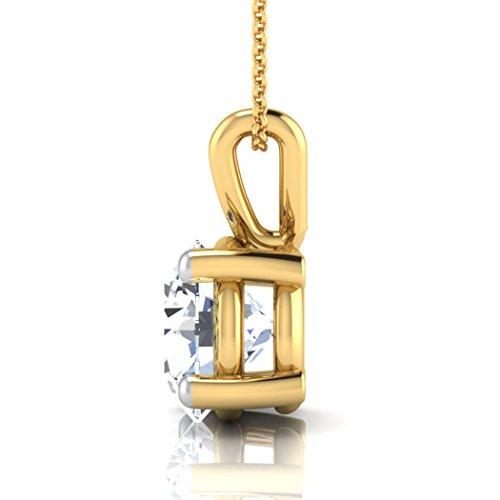 Or jaune 18K 0,3CT TW Round-cut-diamond (IJ   SI) Pendentif