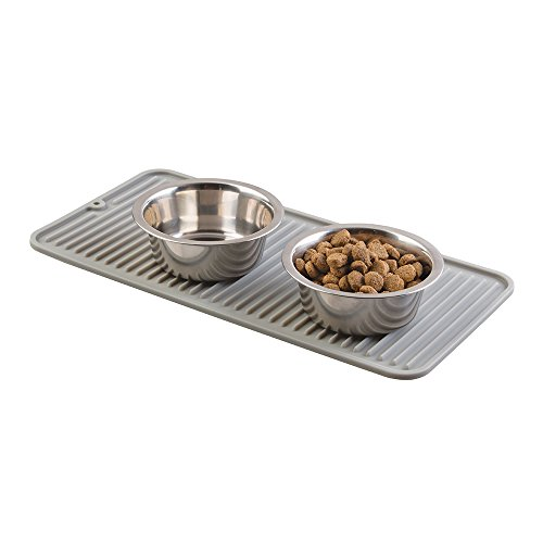 mDesign Premium Quality Pet Food and Water Bowl Feeding Mat for Dogs and Puppies - Waterproof Non-Slip Durable Silicone Placemat - Food Safe, Non-Toxic - Gray (Mat Small Floor)