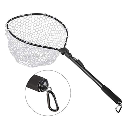 Dreamseeker Landing Net Rubber Telescopic Net Fishing, Foldable Fishing Net Landing Net for Adults and Kids, Aluminum Handle