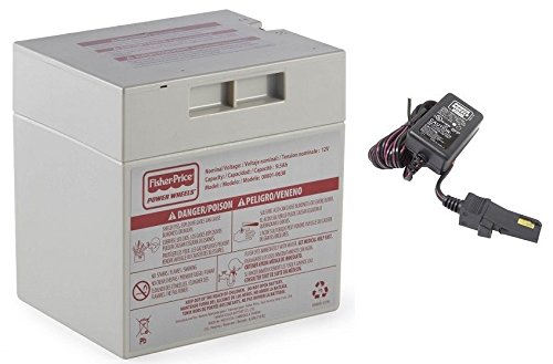 Power Wheels Gray 12V Battery + 12 Volt Gray Charger w/ Probe 00801-1480 (Barbie Power Wheels Jeep Battery)