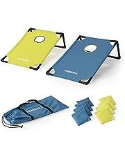 HOBERG Outdoor werpspel Cornhole   dankzij het insteeksysteem gemakkelijk op te bouwen en te transporteren   toernooiset van 2 boards, 8 zakjes, transporttas