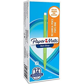 PaperMate 0.7 mm Non-Stop Mechanical Pencil, HB #2, Assorted Neon Barrel Colours, Box of 12
