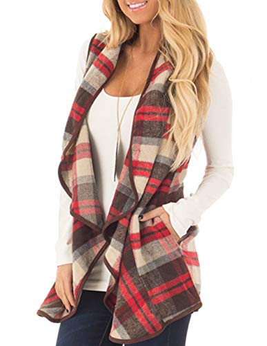 (Womens Casual Long Sleeve Open Cardigan Sweater Maxi Knitted Slide Split Dusters with Pockets S - 3XL (XXL, Red Plaid))