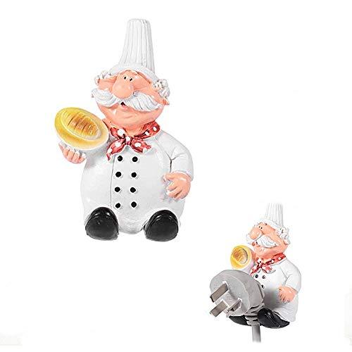 2 pcs Cute Chef Figurines Wall Adhesive Plug Socket Holder Hanger Hook Rack