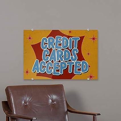 Nostalgia Burst Premium Acrylic Sign 27x18 5-Pack Credit Cards Accepted CGSignLab