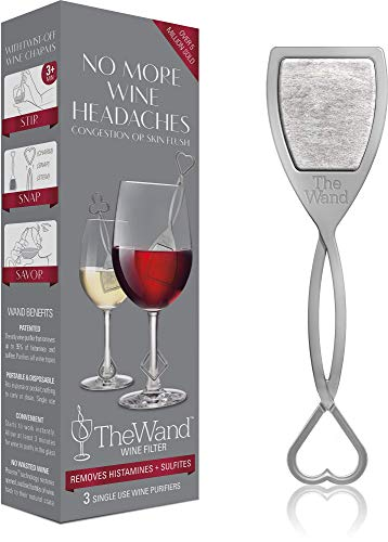 The Wand Wine Filter by PureWine | No More Wine Headaches | Removes Sulfites AND Histamines | NEW Twist-Off Wine Charms |