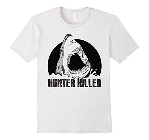 Mens Shark Killer Shark (Mens Great White Shark Hunter Killer T-Shirt Small White)