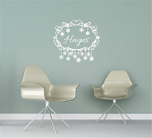 siyjl Room Wall Decor Stickers Snowflakes Name Wall Decal Swirly Frame Personalized Family Name Custom Name Wall Stickers Peel and Stick Removable Wall Stickers for Kids Nursery Bedroom Living - Snow Swirly