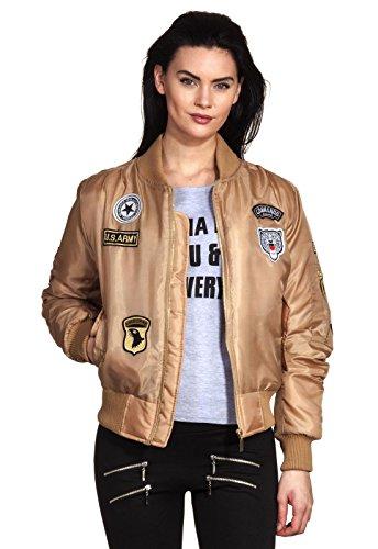 Aviador Retro Bomber Con Pegatinas Parches Del Ee Chaqueta Cremallera Loomiloo® piloto Ejército Mujer De uu Beige Tipo Y Plumón HAx1vnqzFw