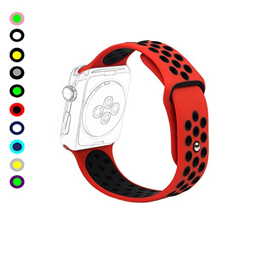 Sunmitech Silicone Bands for Apple Watch iWatch 38mm / 42mm Both Series 1 and Series 2, Replacement Smart Watch Bracelet Strap Accessories, Sport Style Wristband