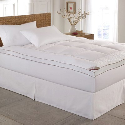 Kathy Ireland Home Essentials 233 Thread Count Cotton Fiber Mattress Pad, Queen, White
