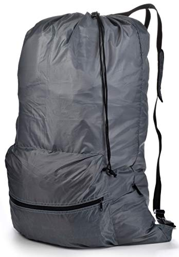 Backpack Drawstring Bag - Large Front Zippered Pocket, Two Hanging Loops, Adjustable Comfort Shoulder Straps, Secure Drawstring Closure. Great for Laundry, Camping, Overnight, Travel or Sports Bag.