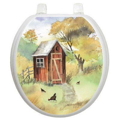 Toilet Tattoos Outhouse Watercolor Decorative Applique for Toilet Lid
