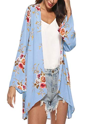 Print Vest Silk (Toimoth Women Floral Cover Casual Blouse Tops Loose Kimono Cardigan Capes Sun-Protective Clothing(Blue,XL))
