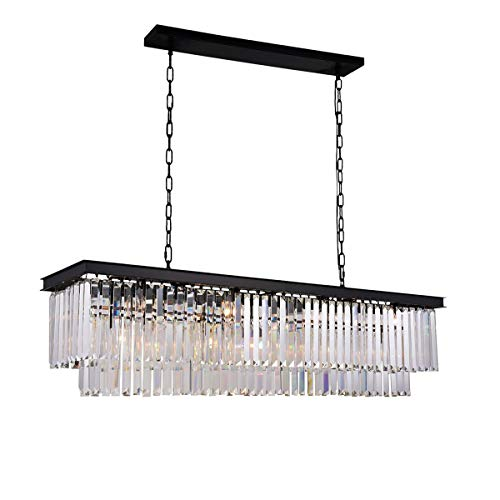 Modern Rectangular Crystal Chandelier Lighting Linear Pendant Ceiling Lighting Fixture for Dining Room Kitchen Island Pool Room Rectangle Lights L33.5