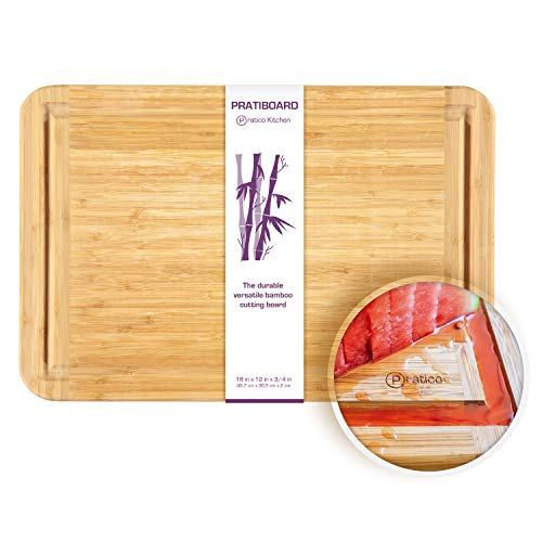 Bamboo Cutting Board and Serving Tray with Juice Groove - Extra Large 18 x 12 inches - Made Using Premium Bamboo (Meat Platter Cart)